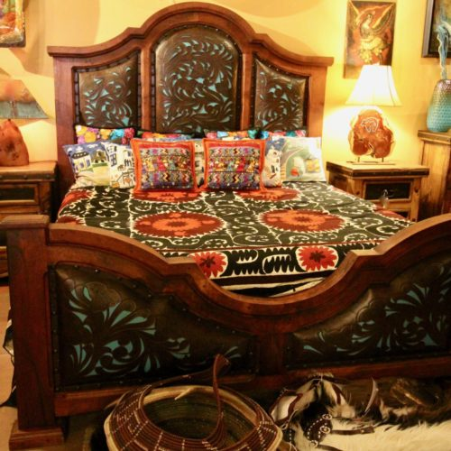 Turquoise Tooled Leather Bed