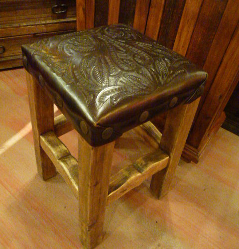 Tooled Leather Barstool