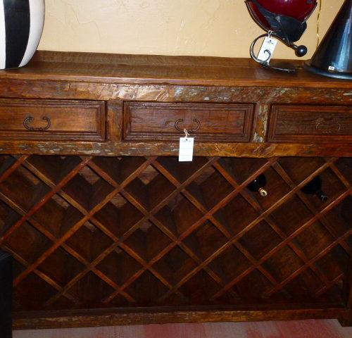 rustic open wine rack