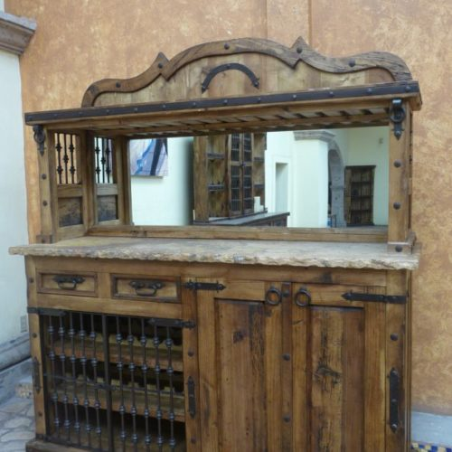 rustic Counter Bar with Mirror & Marble Top