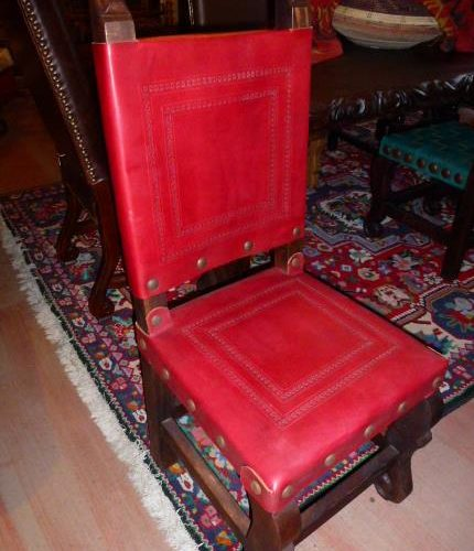 Argentina Tooled Leather Chair in Red Guinda