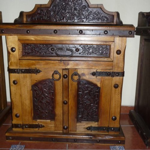 Pine Tooled Leather Nightstand