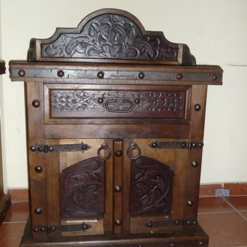 Walnut Tooled Leather Nightstand