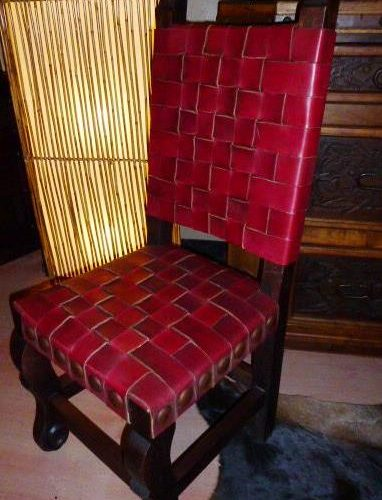 Argentina Woven Leather Chair in Red Guinda