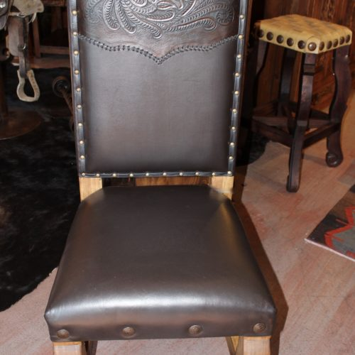 western Tooled Leather Chair in Chocolate