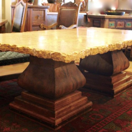 Broken Edge Travertine Table on Double Mesquite Pedestal