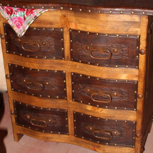 Hacienda Curved Tooled Leather Dresser