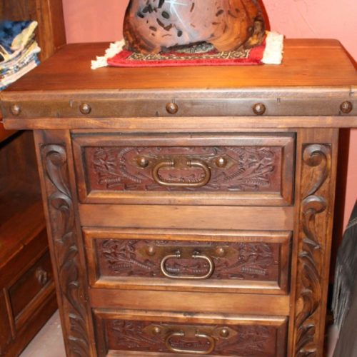 carved pine nightstand