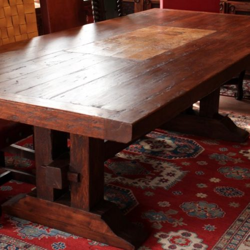 Wormwood Table with Travertine Inlay