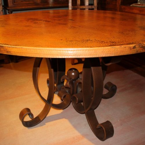 Copper Round Table with Iron Base