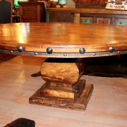 Mesquite Round Table with Turquoise Inlay & Mesquite Base