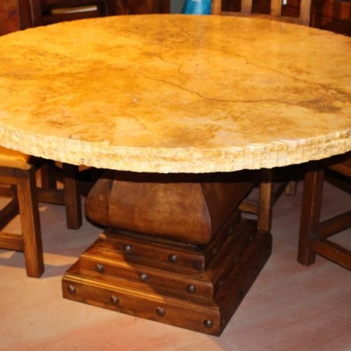 Chiseled Edge Travertine Table with Mesquite Base