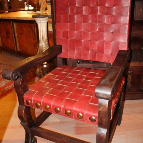 Argentina Woven Leather Armchair in Red Guinda