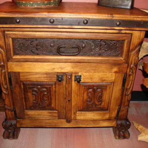 Hacienda Carved Tooled Leather Nightstand