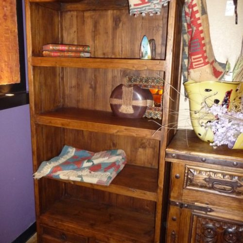 pine curved bookcase