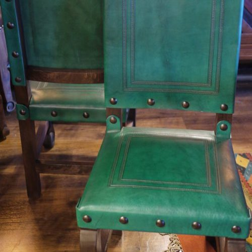 Argentina Tooled Leather Chair in Turquoise Verde