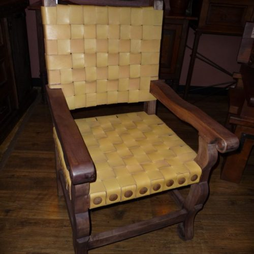 Argentina Woven Leather Armchair in Yellow