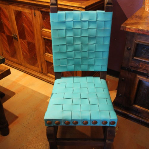 woven leather chair color turquoise