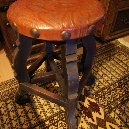 round tooled leather stool