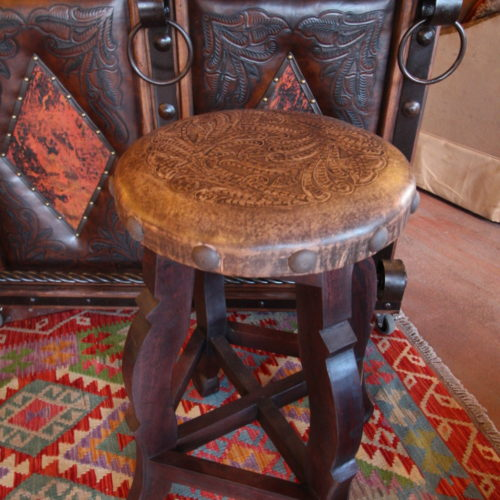 Round Tooled Leather Stool in Vintage Coffee