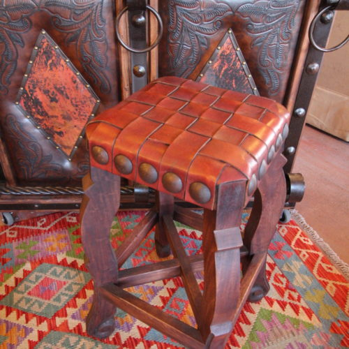 Argentina Woven Leather Stool in Red Guinda