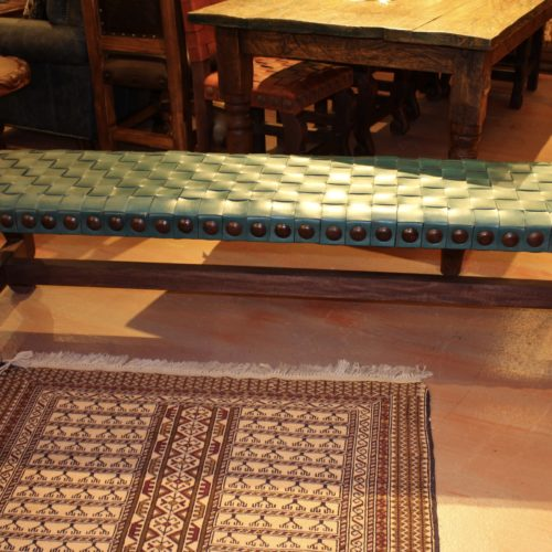 Woven Leather Bench in Turquoise