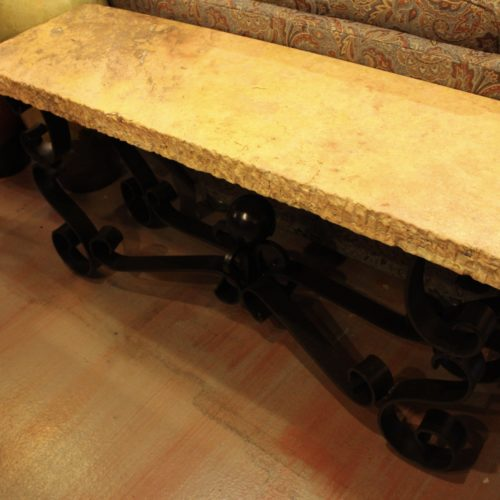 marble table with iron base