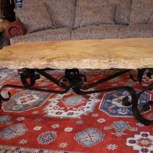 Travertine Machetado Coffee Table on Iron Base