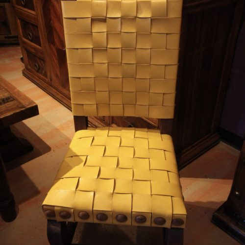 woven leather chair in yellow