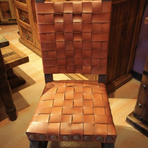 Argentina Woven Leather Chair in Rojo Inglès