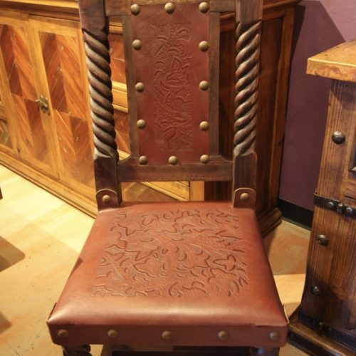 Rey Salomon Tooled leather Chair in Red Guinda