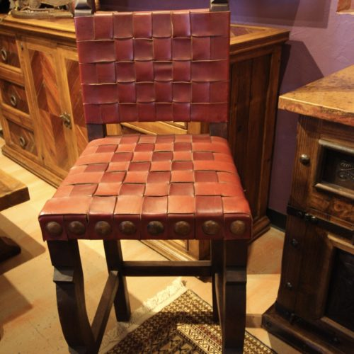woven leather barstool