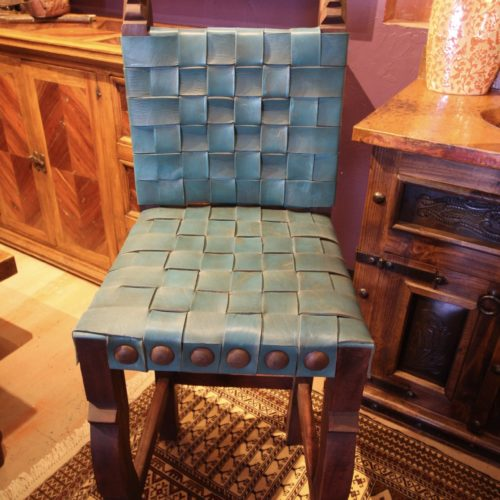 Argentina Woven Leather barstool in Turquoise