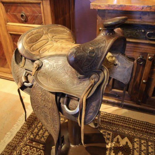old saddle stool