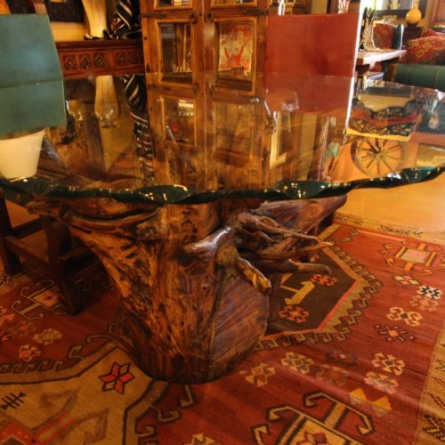 Round Glass Table on Mesquite Root
