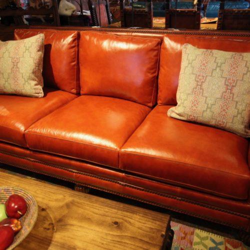 Crimson Italian Leather Sofa
