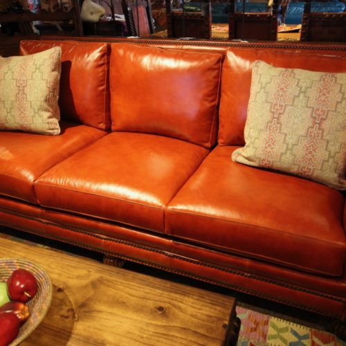 Crimson Red Italian Leather Sofa