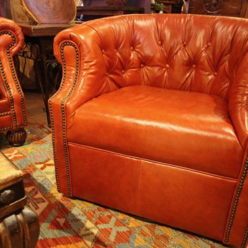 Crimson Red Italian Leather Swivel Chair