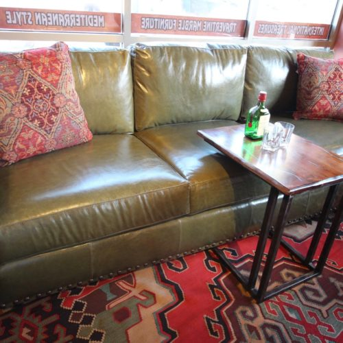 Monte Cristo Olive Leather Sofa