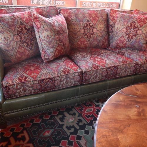 Olive Leather & Fabric Sofa