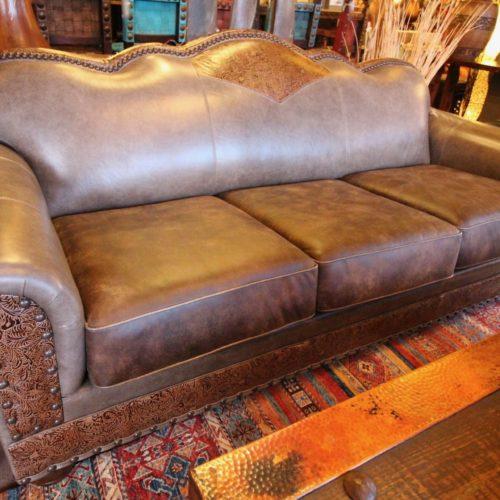 Slate Saddle Embossed Leather Sofa