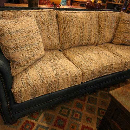 Omaha Turquoise Leather & Fabric Sofa