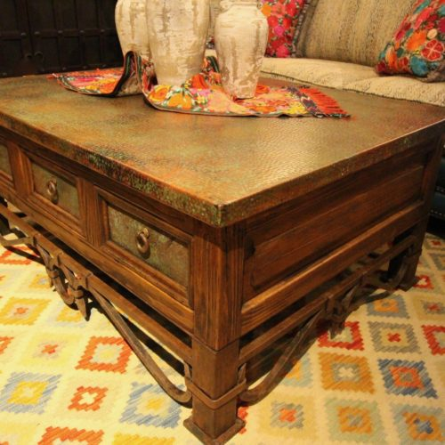 Patina Copper 6 Drawers Coffee Table