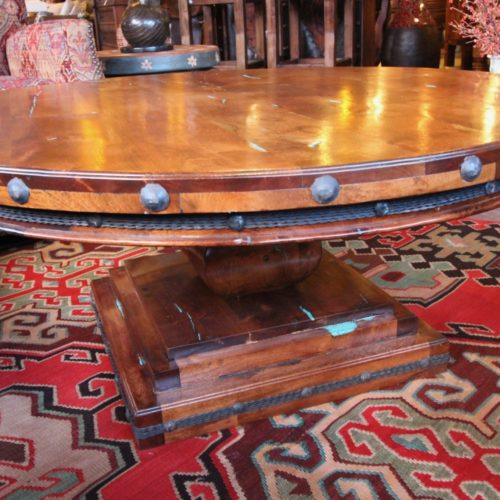 Round Mesquite & Turquoise in-Lay Coffee Table
