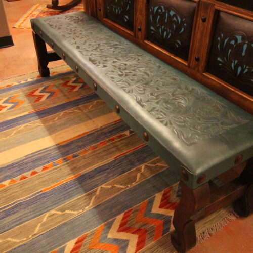 Argentina Tooled Leather No Back Bench in Turquoise Verde
