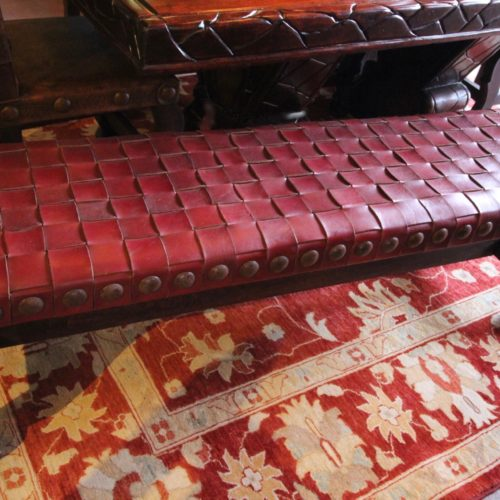 Argentina Woven No Back Bench in Red Inglès