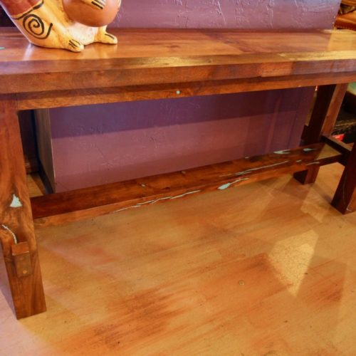 Mesquite & Turquoise Inlay Sofa Table
