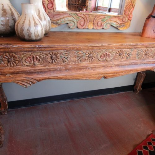 Weathered Carved Sofa Table