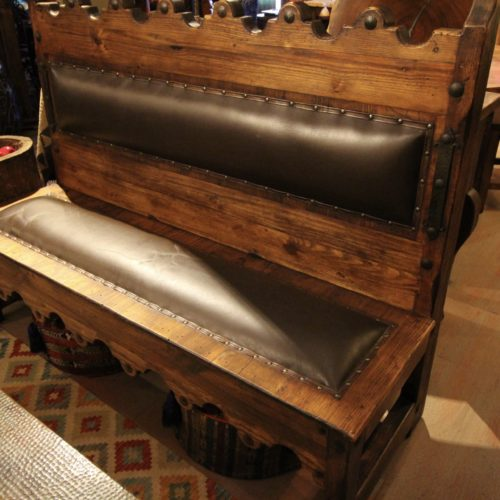 Xochimilco Leather Bench