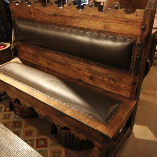 Xochimilco Leather Bench